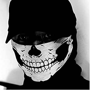 Prime Box Autoridez Men's Fabric Skull Style Dust Protection Face Mask for Bikers (Black)