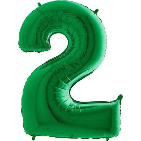 GRABO Decoración del globo Número 2' verde gigante - Provisiones del partido
