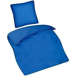 Aminata Kids Kinder-Bettwäsche-Set 135-x-200 cm blau EIN-farbig-e Uni-farbig-e Teen-AGER Jugend-liche-r Junge-n Jungs Baumwolle Bett-Bezug Einzel-Bett-Decke Reißverschluss Oeko-Tex 2-teilig
