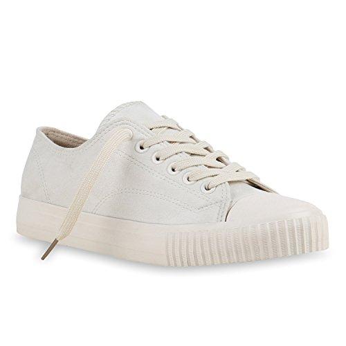 Senhoras Sapatilhas Esportivas Básicas Atam Lederoptik Sapatos Creme Totais