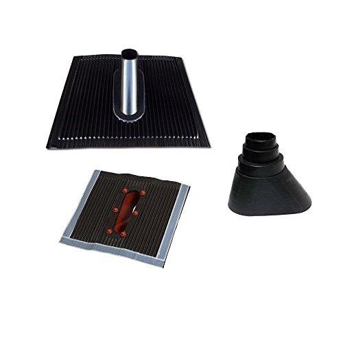 Universal-manschette-adapter (Aluminium Dachabdeckung Alu Dachziegel inkl. Mastmanschette schwarz Dach Montage Abdeckung Manschette Gummitülle Tülle Ziegel Dachpfanne für Sat Dachsparrenhalter Universal Dach Pfanne)