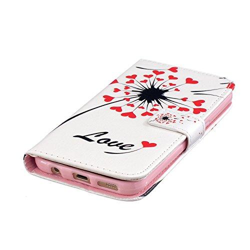 Voguecase® für Apple iPhone 5 5G 5S, Kunstleder Tasche PU Schutzhülle Tasche Leder Brieftasche Hülle Case Cover (Frühling) + Gratis Universal Eingabestift Liebe Löwenzahn
