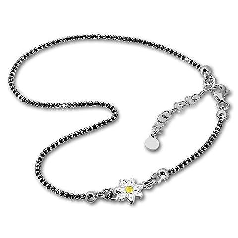 SilberDream Chaine de cheville Fleur 27cm diamanté noirci - Argent Sterling 925 - Bracelet de cheville - Bijoux Pied SDF2224K