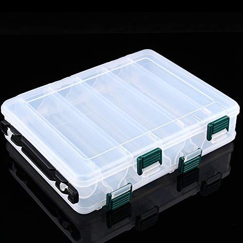 Doppelseitige Köderbox Aus Kunststoff - 20 X 15,5 X 4,5 cm Angelgerät Doppelseitige Köderbox Aus Kunststoff Mit 12 Fächern (Farbe : Silber)