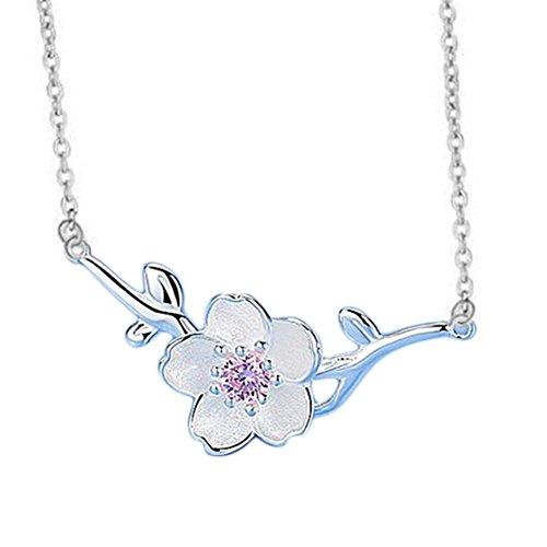 fablcrew niedliche Kirschblüten Schlüsselbein Halskette Silber Kette Schmuck Xmas Geschenk Deko
