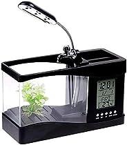 Mini USB LCD Desktop Lamp Light Fish Tank Aquarium LED Clock【H4874 】