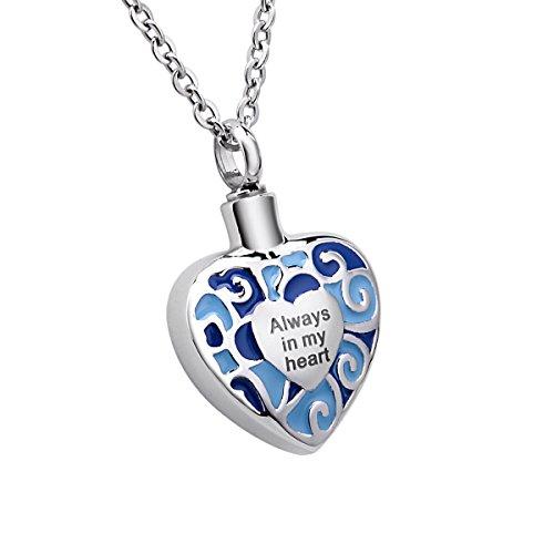 """Grabado """"Siempre en Mi Corazón Memorial urna Collar con colgante cremación joyas acero inoxidable desmontable, azul"""