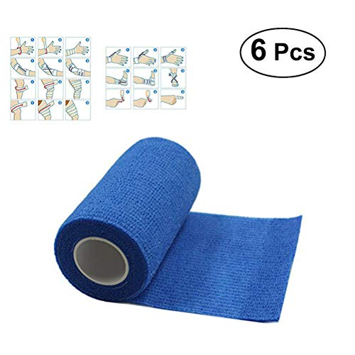 Healifty Selbstklebende Bandage Medizinische Tierarztband Erste Hilfe Band für Athletic Sport Verstauchung Schwellung 7,5x450 cm 6 Stück (Blau) -