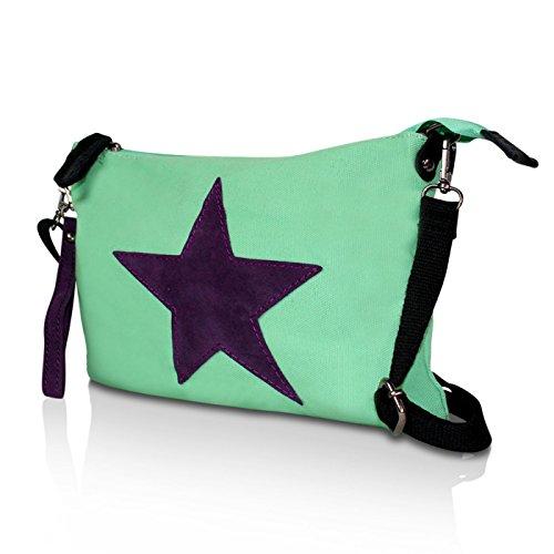 Glamexx24 Damen Clutches Tasche Handtaschen Schultertasche Umhängetasche mit Stern Muster Tragetasche TE201615 Hellgruen