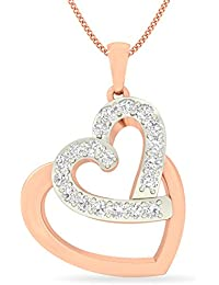 PC Jeweller The Olfa Heart 18KT Rose Gold & Diamond Pendant