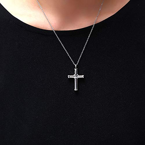 Urn Anhänger Halskette Edelstahl Medaillon Asche Urn Halsketten Andenken Schraube religiöse Kreuz Feuerbestattung Schmuck,Silver ()