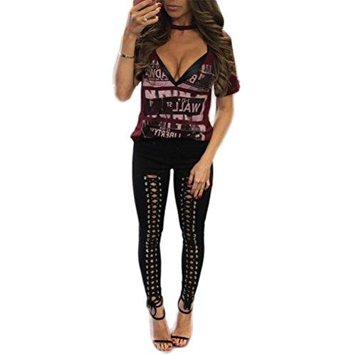 Femmes Sexy Cool Bandage Croix Slim Fit haute taille pantalon occasionnels Nightclub Pantalons Noir