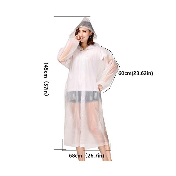 Luoistu Reusable Rain Ponchos, EVA Waterproof Raincoat with Drawstring Hood and Long Sleeves; Emergency Poncho (145cm / 57inch) for Travel, Festivals, Theme Parks and Outdoors 5