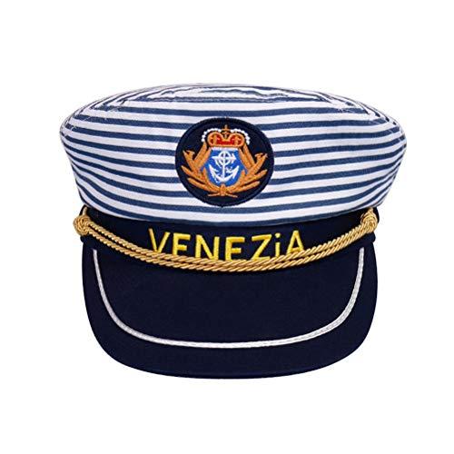 Amosfun Kapitänsmütze Cosplay Party Kapitän Hut Blau Streifenkappe Erwachsene Dress Up Kostüm Zubehör 1 STÜCKE (Erwachsene 58 cm Einstellbar)