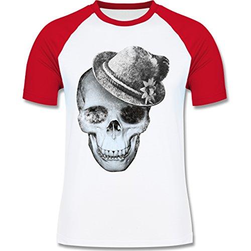 Shirtracer Oktoberfest Herren - Totenkopf mit Filzhut - Herren Baseball Shirt Weiß/Rot
