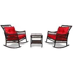 YOUKE 3 Meubles en Osier de rotin de Patio de PC Ont placé des Coussins de Table Basse de Chaise à Bascule de Nouveaux Meubles extérieurs