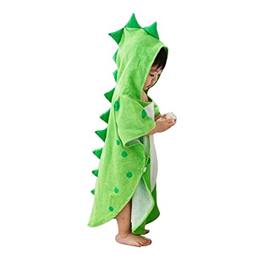 UULMBRJ Children Serviette de Bain à Capuche Dinosaure pour bébé Robe de Bain Plage Poncho de Natation pour garçons et Filles, Coton, Vert, Small