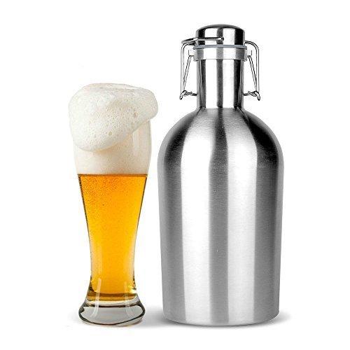 Olayer Edelstahl-Wein Flagon Flasche 64 Unzen / 2-Liter-Trinkflasche Swing-Cap-Bier Growler Brew Craft Beer Entwurf Schiff