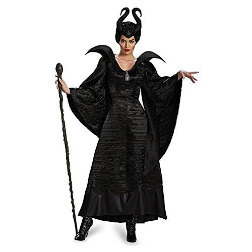 Homelix Frauen Maleficent Schwarz Taufkleid Halloween-Kostüm (L)