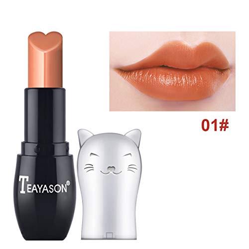 TTLOVE Neue Mode SüßE Kleine Katze Lippenstift Lipgloss,Frauen Make Up Kosmetik Matte Und KüRbis Farbe Bohnenpaste Lip Solid Gloss Lipstick Long Last Lippenstifte