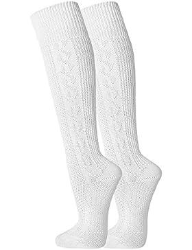 1 Paar Herren Damen Trachtensocken Trachten Socken Strümpfe für Lederhose Kniebund Kurz Hose weiss