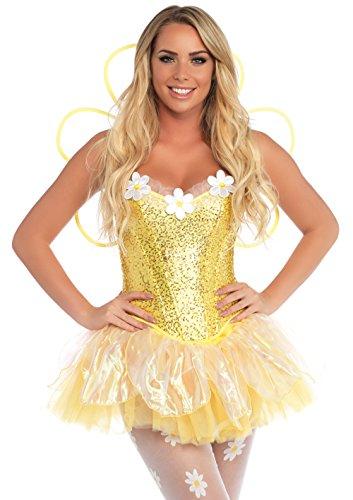 Leg Belle Avenue Kostüm - Leg Avenue 85113 - Daisy Doll Blumenkostüm, Größe S, gelb
