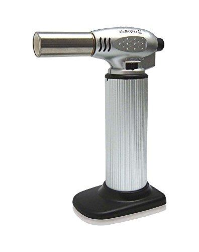 Vin Bouquet FIH 007 - Soplete de cocina para coctelería profesional con ajuste llama y pulsador de seguridad, color gris y negro
