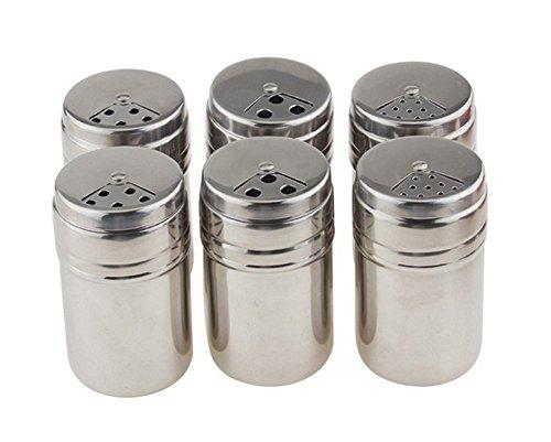 MojiDecor Set von 6 Edelstahl Haushaltsdose Gewürzdosen Schüttdosen Streudosen Vorratsdosen Spice Jars Pfefferstreuer für Küche Kochen Outdoor Barbecue
