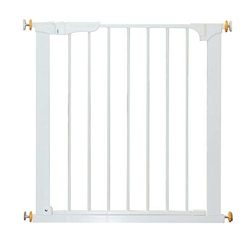 HOMCOM PawHut Puerta de Metal Blanca de Escalera o Pasillo para Mascotas Tipo Barrera de Seguridad 74-95cm