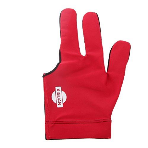 3 Finger Billardhandschuh , Linke Hand - Rot