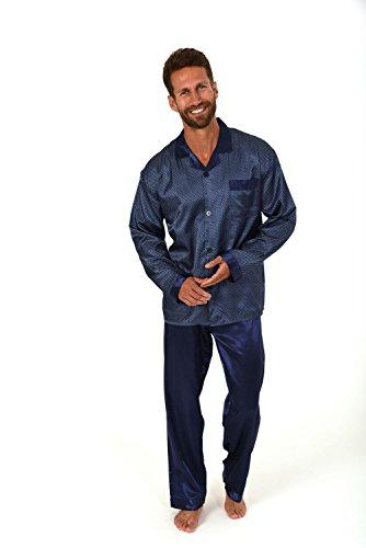 Satin Herren Pyjama lang durchgeknöpft Minimalprint 271 101 94 001, Farbe:navy;Größe:48 (Pyjama Navy Satin)