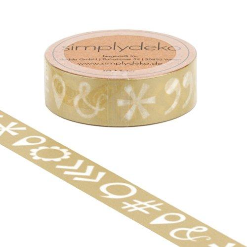 Simplydeko Washi Tape - Masking Tape Vintage und Retro - Wundervolles Washitape Bastel-Klebeband aus Reispapier - Zeichen in Beige (Vintage Retro Zeichen)