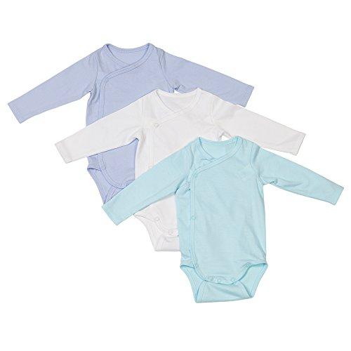 Baby Erstausstattung | 3er Set Baby-Body langarm Jungen & Mädchen | 100% GOTS-zertifizierte Bio-Baumwolle: Ideal für empfindliche Neugeborenen-Haut | Fair-Trade, Set für Jungen & Mädchen, Größe: 56