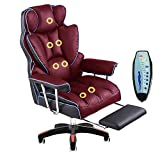 L.HPT-chairs Computer-Vorsitzender Luxury Office Chair Home Office Relaxing Chair PU Leather Armchair/7-Point-Massage High Back Desk Work Swivel Chair,Red+Blue,Massage