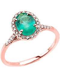 14ct Rose Gold Halo Solitaire Zambian Emerald and Diamond Proposal Ring