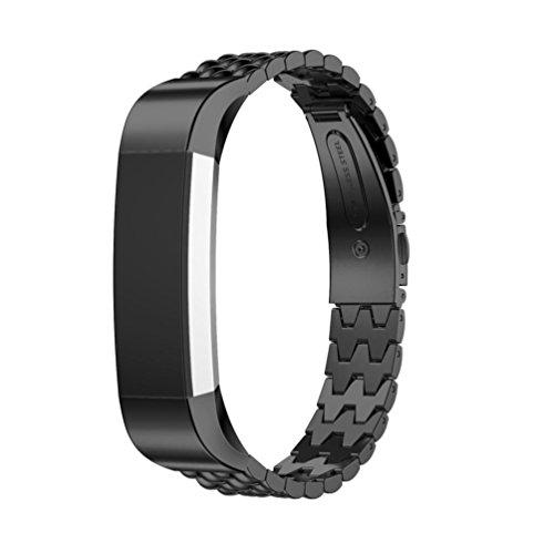 Ersatz Handgelenk Band, lanowo langlebigem Edelstahl Watch Band Wrist Strap Ersatz-Armband für Fitbit Alta HR Smart Watch, schwarz