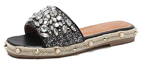 Perle pantoufles de paille femmes de sandales plates et pantoufles avec des femmes à talons bas Black