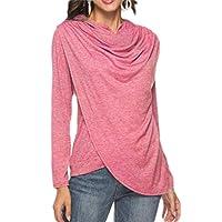 Tinyshine Womens Casual Irregular Hoody Long Sleeve Top Blouse T-Shirts Pink M