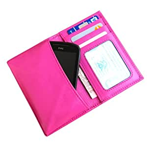 i-KitPit Genuine Leather Wallet Flip Pouch Case For Lava Iris 454 (Pink)