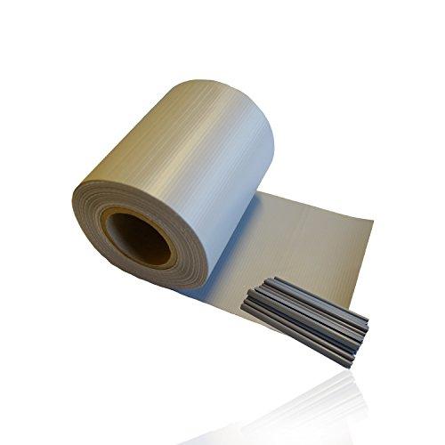 HSM 1 x Zaun Sichtschutz Blende Zaunfolie Sichtschutzstreifen 19cm x 35m aus hochwertigem PVC ALS Windschutz inkl. 20 Befestigungsclips GRAU