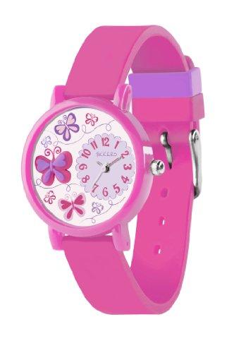 Tikkers Kinder Quarz-Uhr mit Zifferblatt Analog-Anzeige- und Pink Silikon Strap TK0074