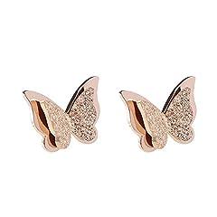 Idea Regalo - BIGBOBA - eleganti orecchini a bottone a forma di farfalla, in oro rosa, per donne/ragazze (Farfalla)