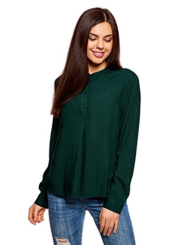 oodji Collection Donna Camicetta in Viscosa Linea AD A Verde (6900N)