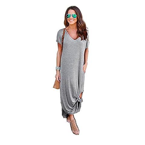 irina Femmes en vrac Beach Gallus manches courtes-parole longueur robe longue (XL, gris)