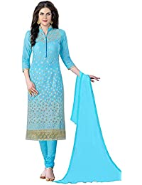 Nivah Fashion Women's Cotton Embroidery Work Salwar Suit (Free Size_Semi-Stich) G18-Turquoise