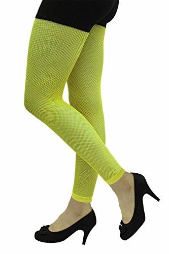 Islander Fashions Damen Fischnetz Footless Strumpfhosen Damen Fancy Hen Night Party Wear Zubeh�r Neon Gelb One Size (Tights Fischnetz-footless)
