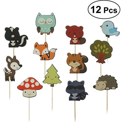 Amosfun Kuchen Topper für Kinder Geburtstagsfeier Baby Shower Forest Tier Cupcake Dessert Dekoration Kuchen Picks 12 Stücke