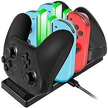 EXTSUD 6 in 1 Nintendo Switch Controller Ladestation Pro Controller Ladegrät mit 4 Slots für Joy-Con und Typ-C USB Port für Switch Konsole/Pro Controller/Typ-C Geräte Dock mit LED Anzeige