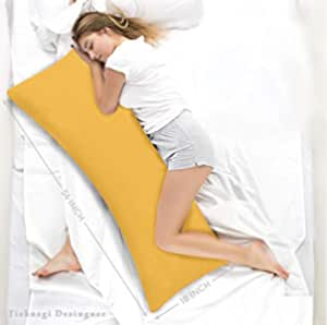 Ultra Soft Body Pillow - Long Side Sleeper Pillows For pregnant women Use During Pregnancy - 100% Cotton Soft White Stripes Pillow with Soft Polyester Fiber Filling Inside Along With 100% Natural ReyonCotton Removable Cover (Mustard) (Single Pack)