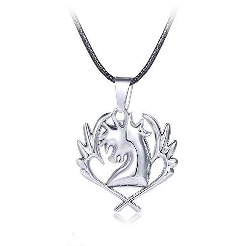 Mode Fee Schwanz Halskette Cyan Pferd Symbol Von Hoher Qualität Edelstahl Anhänger Halskette Männer (Pferd Fee Kostüm)